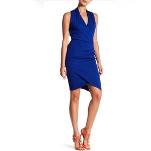 NWT cobalt Nicole Miller ruched wrap dress sz 0